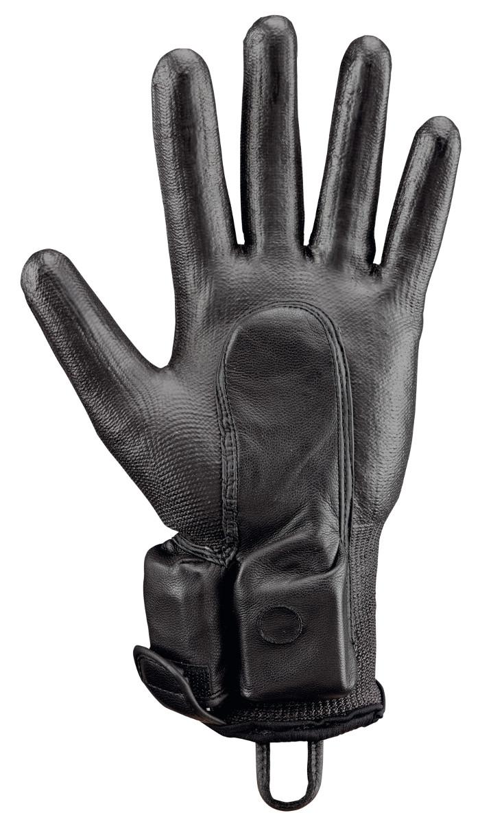 Ce gant intègre un capteur qui détecte la présence de métal. © Rostaing