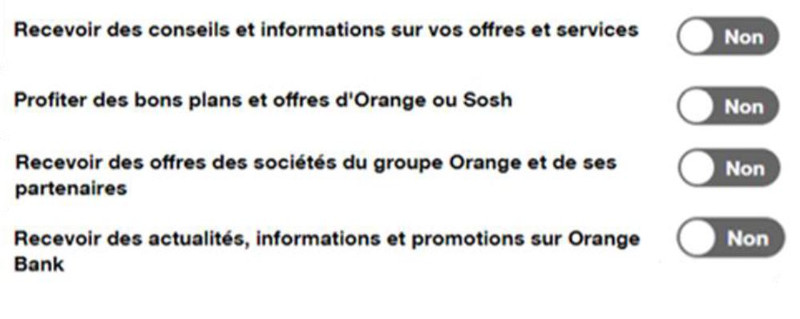 Exemple de Privacy Center de l'espace client d'Orange. © Converteo