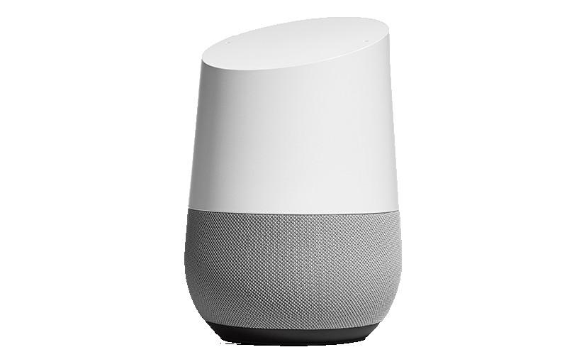 Première arrivée sur le marché français, l'enceinte Google Home embarque un assistant vocal. © Google