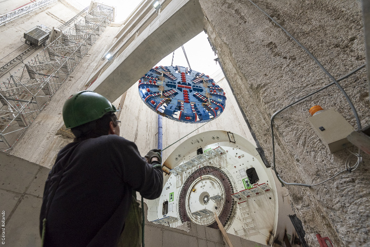 La présence de tunneliers engendre de nouveaux risques pour les ouvriers. © Société du Grand Paris / Gérard Rollando