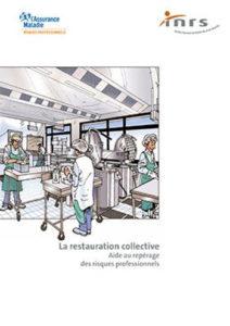 Dessin de travailleurs qui s'affairent dans une cuisine de restauration collective