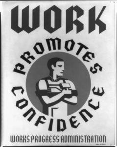 Un illustration américaine des années 30 montrant en travailleur de force.
