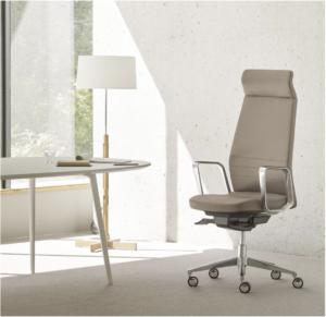 Le fauteuil Eden apparaît dans une pièce au design sobre.