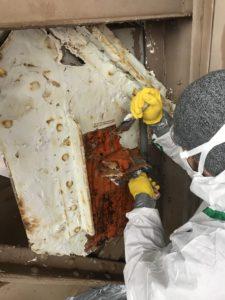 Un artisan utilise un décapant pour retirer des couches d'amiante.