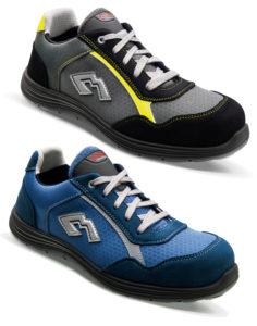 Deux modèles se déclinent en gris et jaune ou bleu.