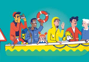 Un dessin montre des civils sur une barque de fortune.