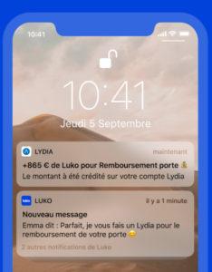 Ecran de smartphone montrant des messages échangés avec Luko