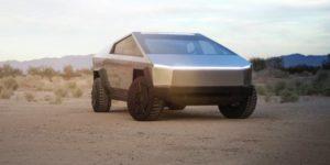 Le CyberTruck apparaît dans un désert aux airs post-apocalyptiques.