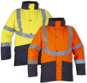 Disponible en jaune ou orange fluo, la veste Bergen est pourvue de bandes rétroréfléchissantes faites de microbilles grises pour rester bien visible.