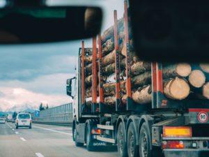 Un camion transporte des rondins de bois sur une autoroute.