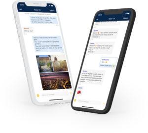 Deux smartphones affichent des conversations. dans Olvid